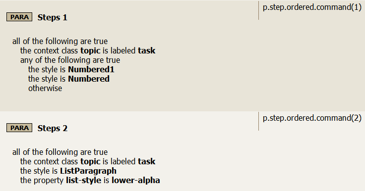 Step ordered command rule